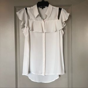 Express Cold Shoulder Ruffle Top